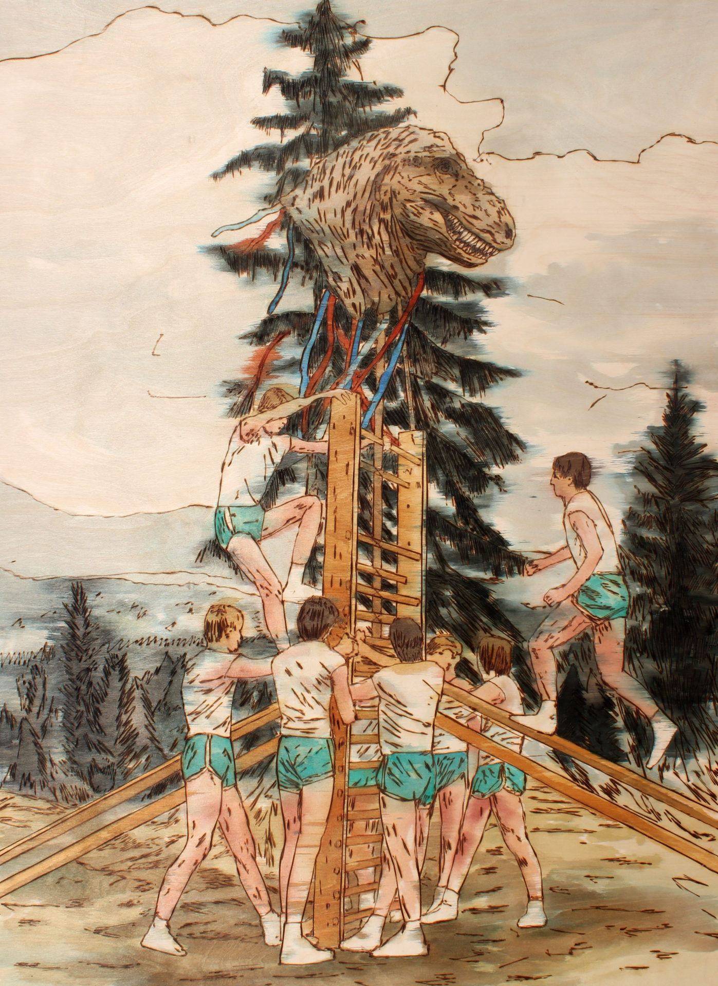 Celebrating Dominance of Mankind on Earth, 125 x 90 cm, pyrography on plywood, wood stains, 2019